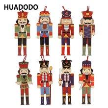 HUADODO 3 шт. деревянный Щелкунчик подвески для рождественских украшений украшения для рождественской елки вечерние Новогодние украшения Детская кукла