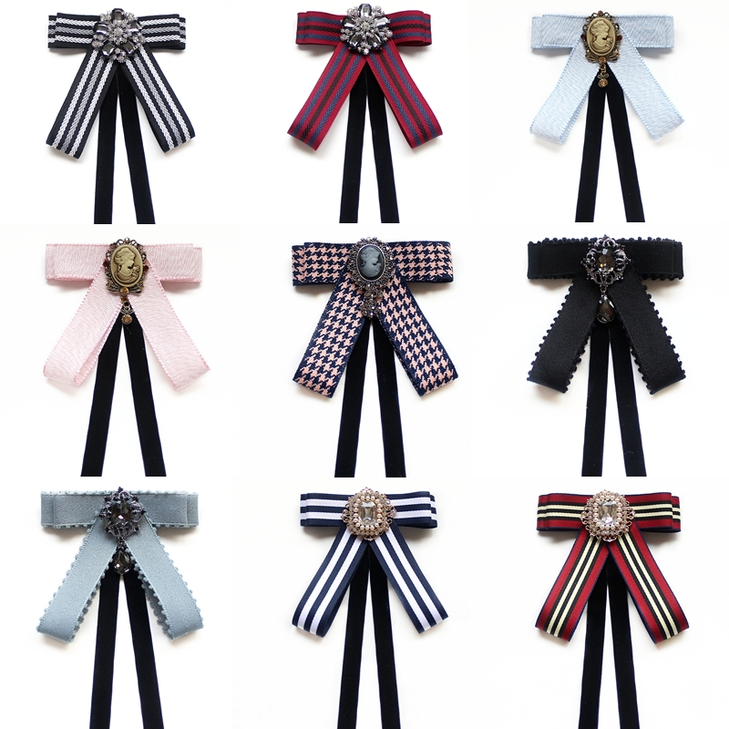 Party Fake Neck Tie For Women Bow Tie Vintage Diamond Ribbon Tassel Brooch Wedding Cravate Staff Student Bowties Neck Wear