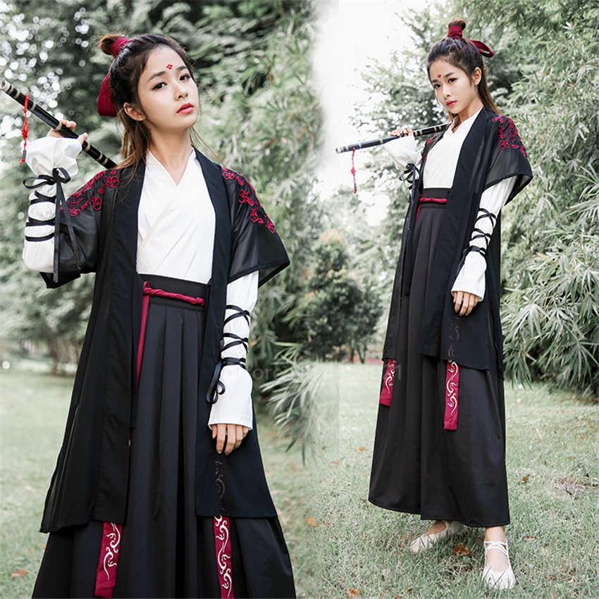 Adulto Antico Tradizionale Cinese Intrattenimento Musiche E Canzoni Samurai Spadaccino Costume di Cosplay Del Partito Retro Donna Orientale Gli Uomini Han Vestito Dinastia
