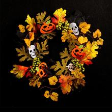 New  Halloween Hanging Door Home Decoration Plastic Artificial Plant Garlands Pumpkin Maple Leaf Bat Berries Rattan Wreath цена