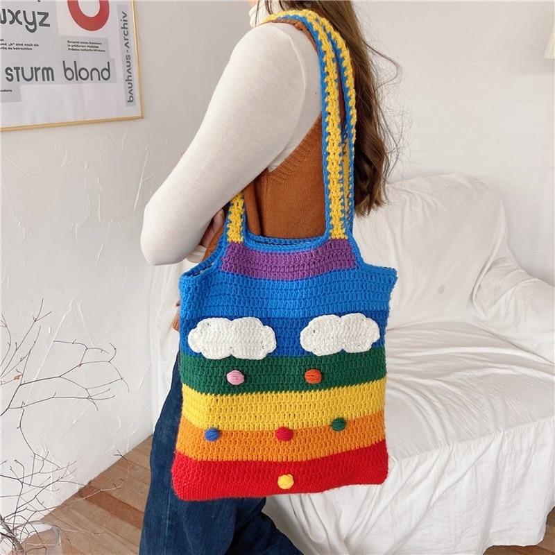 Thailand Rainbow Canvas Bag Girl's Wool Knitting Bag Cotton Cloth Women Shoulder Bag Lovely Student Handbag Lady Messenger Bag