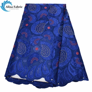 Alisa Royal Blue Design African Dry Lace Fabric 2020 High Quality Swiss Voile Lace In Switzerland For Sewing Clothes B977831-40C