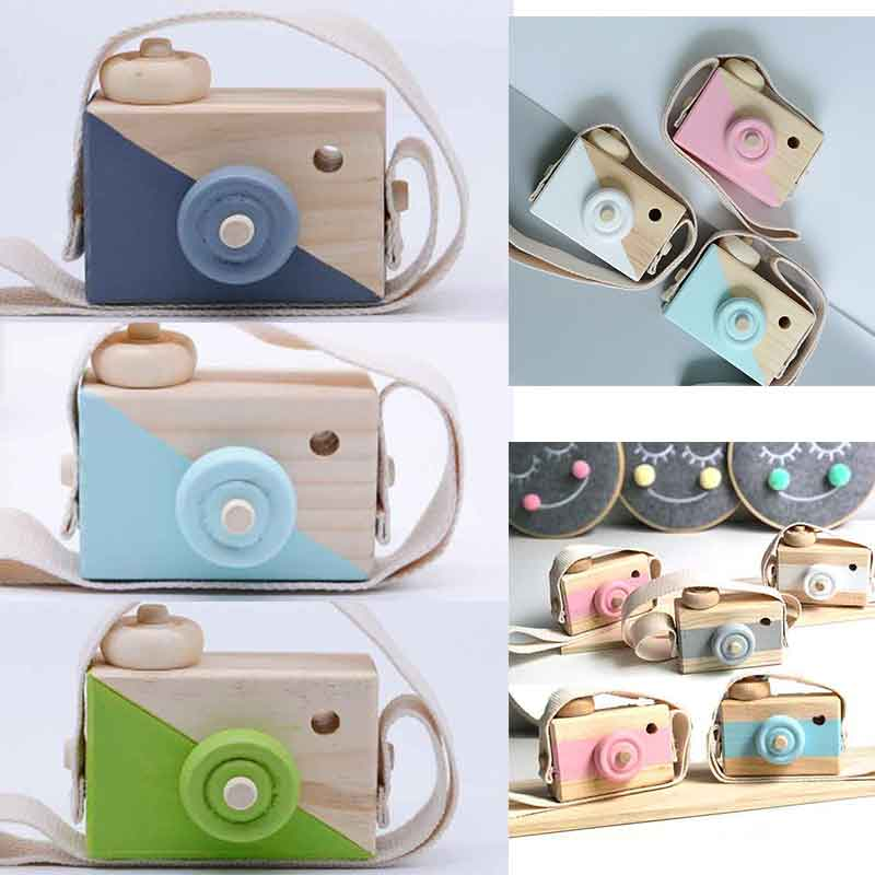 Cute Baby Toys Mini Hanging Wooden Camera Photography Toys for Kids Montessori Toy Gift Children Wooden DIY Presents