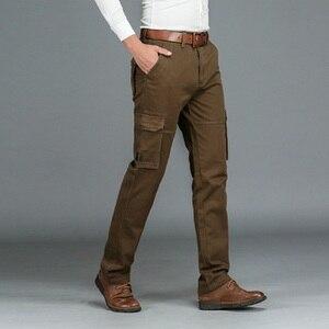 Image 2 - Lã quente inverno carga calças masculinas casuais solto multi bolso masculino 2020 estilo militar do exército verde cáqui tamanho 44 42 40