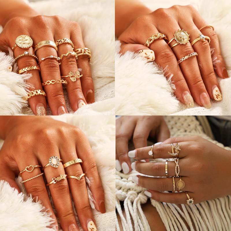 Bohemian Rings For Women Gold Steampunk Snake Sunflower Ring Sets