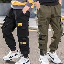 Eachin meninos calças calças meninos carga sólida calças adolescente multi-bolso calças crianças primavera outono meninos calças casuais streetwear