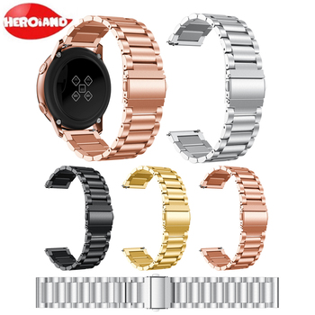 20mm Metal Stainless Steel Band for Samsung Galaxy Watch Active 42 S2 Bracelet Strap For Galaxy active 2 40mm 44mm Wristband 20mm strap for samsung galaxy watch active galaxy watch 42mm gear s2 band stainless steel replacement crystal women wristband
