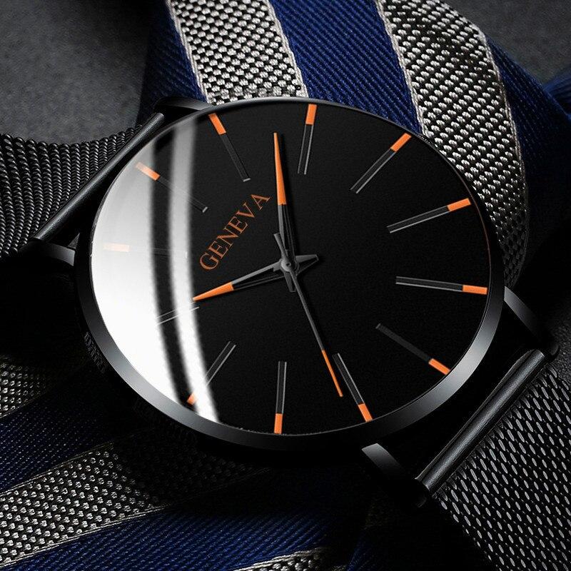 Men's Fashion Ultra Thin Watches Simple Men Business Stainless Steel Mesh Belt Quartz Watch Leather Strap Gift for Boyfriend 2