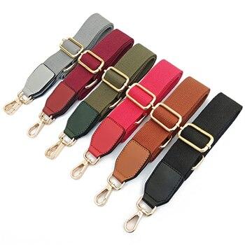Pure Color Cotton Woven Belt With PU Leather Long Shoulder Belt Adjustable Single-shoulder Slant Shoulder Bag Accessories фото