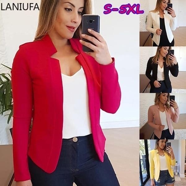 Blazer Jacket Women Fashion Long Sleeve Coat Women Elegant Jacket Suits Female Ladies Women Blazers Coat Mujer Plus Size S-5XL