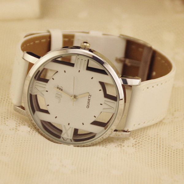 Fashion Lady Round Watch Leather Band Hollow Out Women Watches