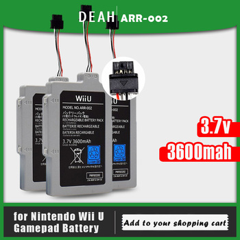 1-10PCS For Wii U Gamepad 3.7V 3600mAh ARR-002 Lithium Li-ion Rechargeable Battery Pack For Nintendo Wii U Replacement Batteries
