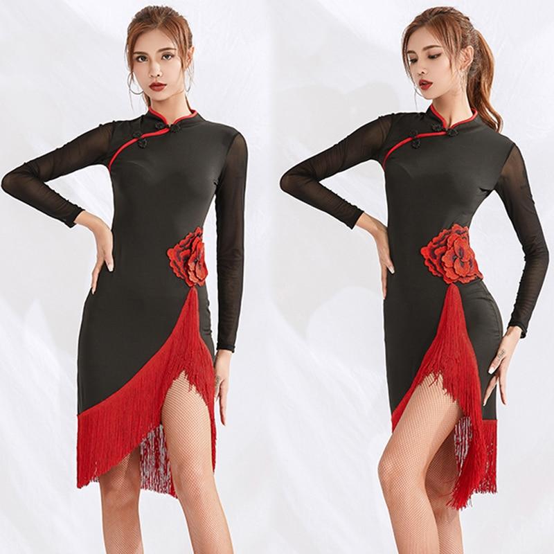 2019 Latin Dance Fringe Dress Performance Outfit Gatsby Dress Adults ChaCha Rumba Dress Long Sleeve Latin Dresses Women BL2570
