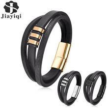 Jiayiqi Punk Black Genuine Leather Bracelet Multilayer Rope Chain Stainless Steel Magnetic Clasps Bangle for Men Fashion Jewelry недорого