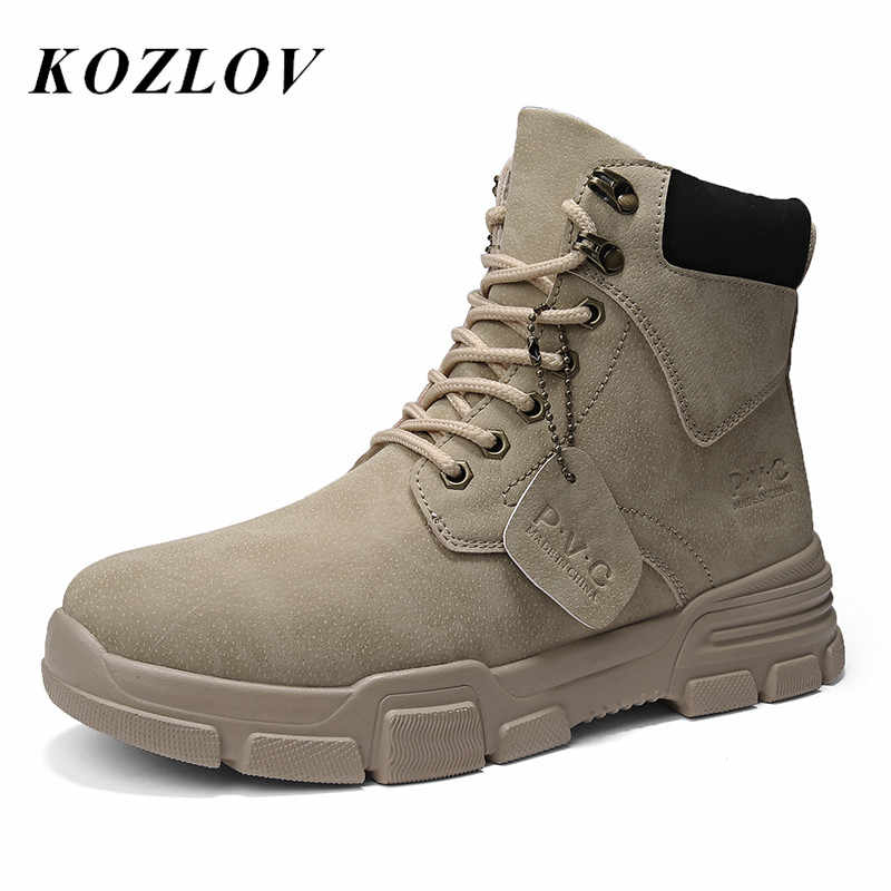 Fashion High Ankle Boots Men Leather