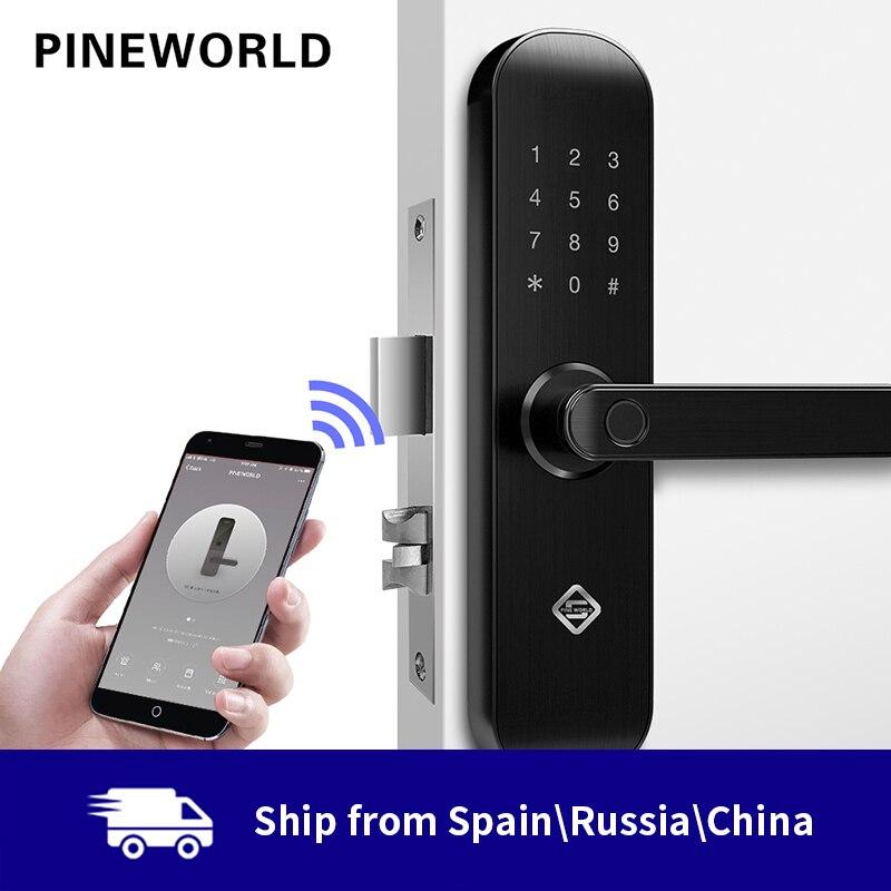 PINEWORLD Biometric Fingerprint Lock, Security Intelligent Lock With WiFi APP Password RFID Unlock,Door Lock Electronic Hotels(China)