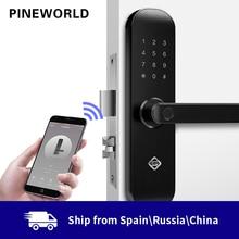 PINEWORLD Biometric ลายนิ้วมือล็อคความปลอดภัยล็อคอัจฉริยะ WIFI APP รหัสผ่าน RFID ปลดล็อกประตูล็อคอิเล็กทรอนิกส์โรงแรม