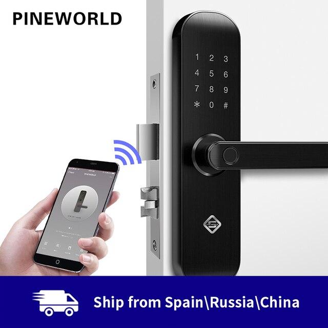 PINEWORLD ביומטרי טביעת אצבע מנעול, אבטחת נעילה חכמה עם WiFi APP סיסמא RFID נעילה, דלת מנעול אלקטרוני בתי מלון