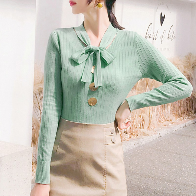 Solid Color Knitting Sweater Women Bow Button Pullover Women 39 s Sweater Office Commuting Women 39 s Sweaters Winter Clothes Women in Pullovers from Women 39 s Clothing