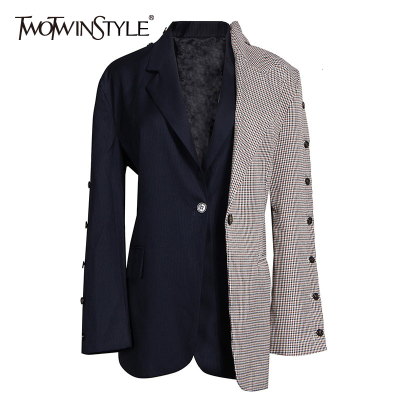 TWOTWINSTYLE Patchwork Hit Color Plaid Women's Blazer Notched Long Sleeve Pocket Elegant Female Suits 2019 Autumn Fashion New