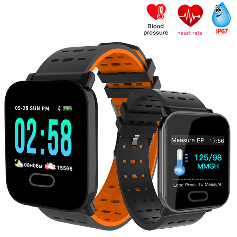 A6 Смарт-часы с монитором сердечного ритма фитнес-трекер кровяное давление Smartwatch водонепроницаемый для Android IOS