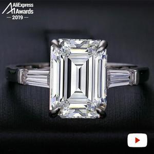 Image 3 - 11*8mm Smaragd Cut S925 Sterling Silber Ring SONA Diamant Halo Feine citrin sapphire amethyst rubin farbigen diamanten