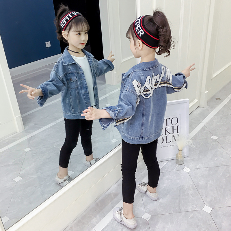 Image 5 - Girl Coats Kids Spring Autumn Denim Jackets for Girls Letter Embroidery Clothes Blue Cotton Jeans Outerwear Tops Kid Clothes NewJackets & Coats   -