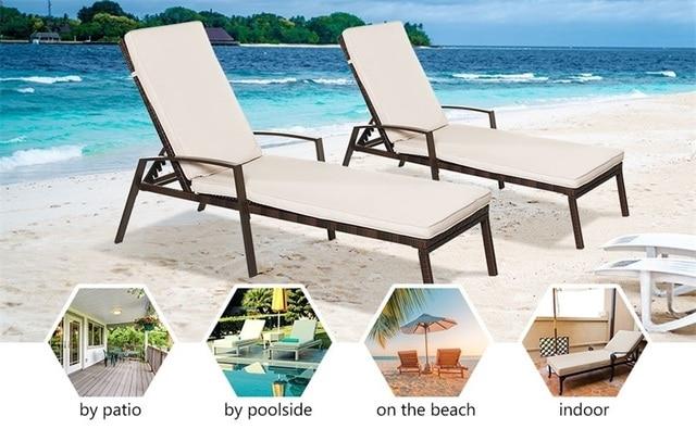 2 Pcs Adjustable Back Sun Lounge Chairs  2