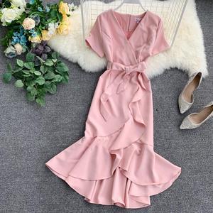 Image 3 - 7 kolorów Plus rozmiar lato Sexy elegancki dekolt do kolan trąbka syrenka szyfonowa Pure Color sukienki koktajlowe sukienka koktajlowa
