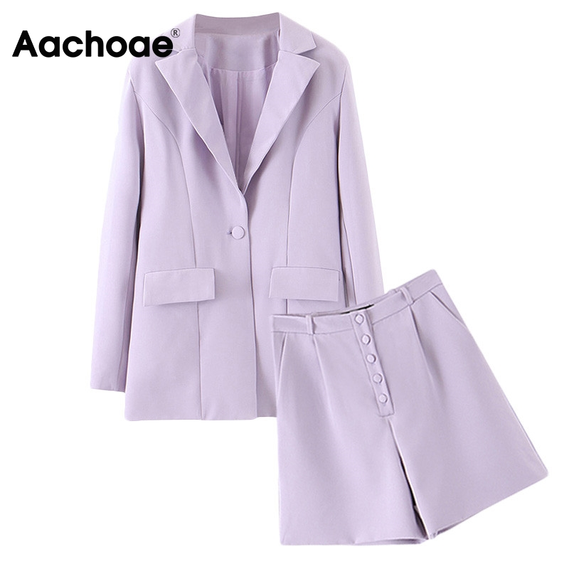 Aachoae Solid Two Piece Shorts Set For Women Fashion Office Long Sleeve Suit Blazer With Button Fly Casual Shorts Ladies 2 Piece