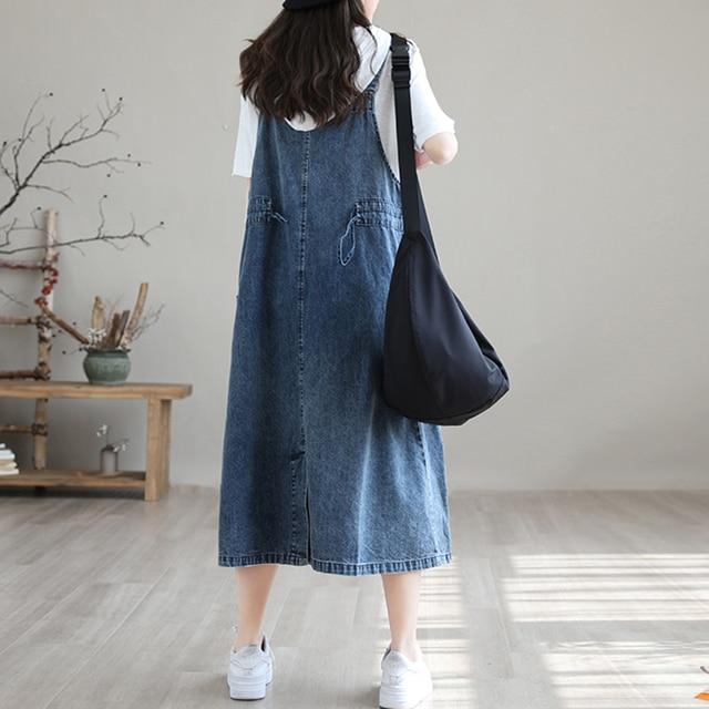 NINI WONDERLAND 2021 Summer Cotton Denim Midi Dress Women's Spaghetti Strap Loose Dress Korean Style Casual Dresses Big Size 5