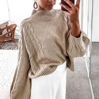 Turtleneck Sweater Women Jumper Winter Pullovers Loose Knited Lantern Sleeve Pull Black Lazy Oaf Tops Sueter