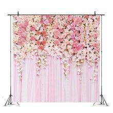 Romântico gradiente rosa flores parede backdrops cartazes casamento crianças festa de aniversário decoração fotografia fundo adereços