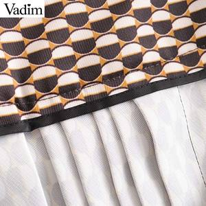 Image 5 - Vadim mujer elegante impresión midi falda cinturón diseño cremallera trasera Oficina Ropa Femenina casual moda básica media pantorrilla falda BA840