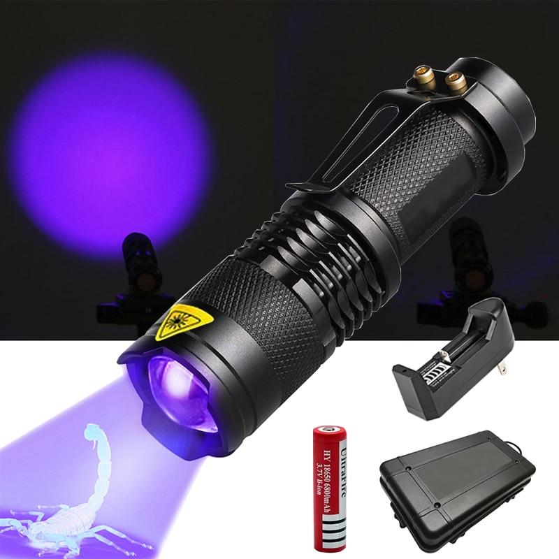UV Flashlight Ultra Violet Light With Zoom Function Mini UV Black Light Pet Urine Stains Detector Scorpion Use AA/14500 Battery
