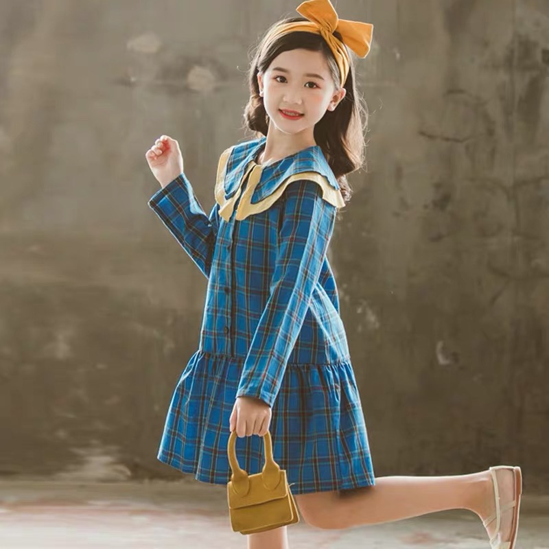 New 2019 Autumn Toddler Plaid Dress Children Leisure Dress Baby Princess Dress Ins Kids
