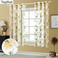 Topfinel-cortinas cortas florales transparentes de tul, cortinas para sala de estar, cocina, ventana tratamiento de cortina, panel de persianas