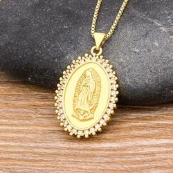 2020 New Arrival 10 style miedzi CZ Virgin Mary naszyjniki dla kobiet mężczyzn kryształ długi naszyjnik łańcuch katolicki biżuteria prezenty