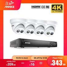 ANNKE 8CH 4K Ultra HD POE ağ Video güvenlik sistemi 8MP H.265 + NVR ile 4 adet 8MP hava koşullarına dayanıklı IP kamera CCTV güvenlik kiti