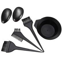5 pçs/set coloração tintura pente tigela de mistura escova earmuff conjunto preto plástico cor do cabelo barbeiro salão matiz hairdressing ferramentas estilo