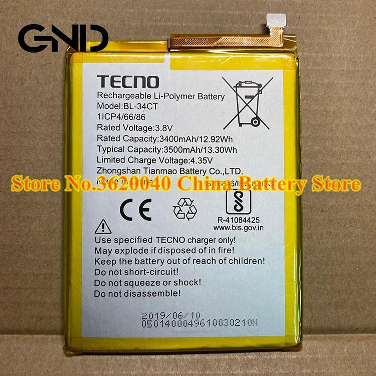 GND 3,8 V 3500 мА/ч, 13.3Wh BL-34CT Замена Батарея для TECNO BL-34CT перезаряжаемые новый бренд полимерный литий-ионный аккумулятор Батарея + Бесплатные инстру...