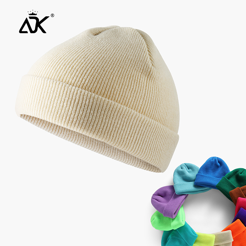Short Beanie Autumn Winter Cap For Unisex Acrylic Knitted Cuffed Ribbed Gorros Outdoor Casual Stretchy Bonnet Skull Cap