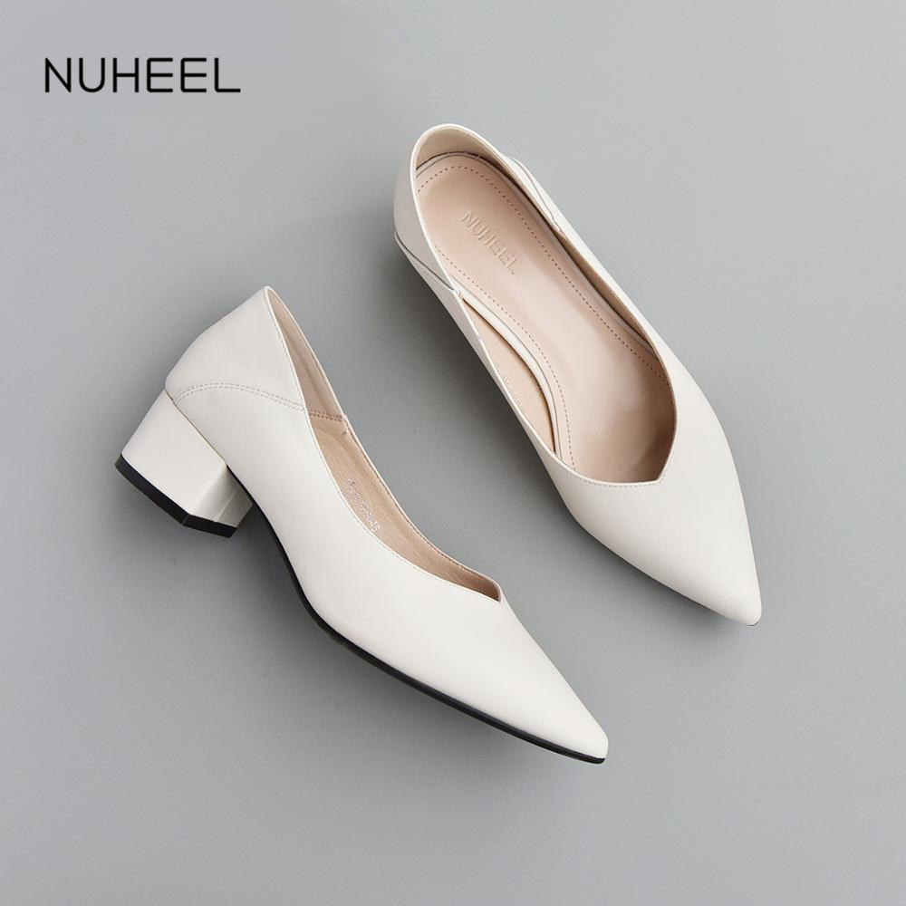 NUHEEL Women's Shoes Shallow Mouth Pointed Toe High Heels New Spring Thick Heel Professional Thin Shoes Women туфли женские