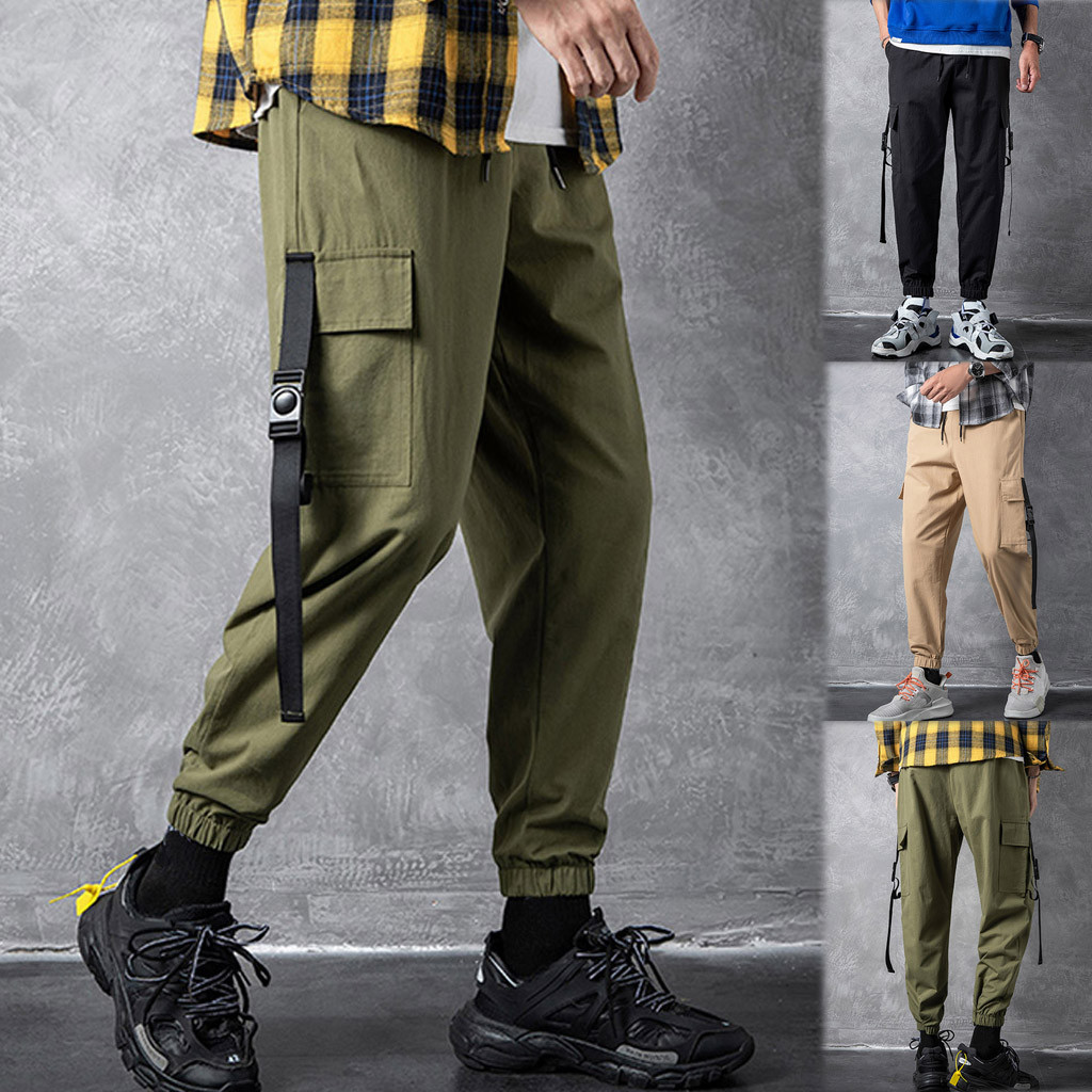 Pants Overalls Patchwork-Pockets Loose Sports-Ankle-Length Men's Casual Fashion GH50