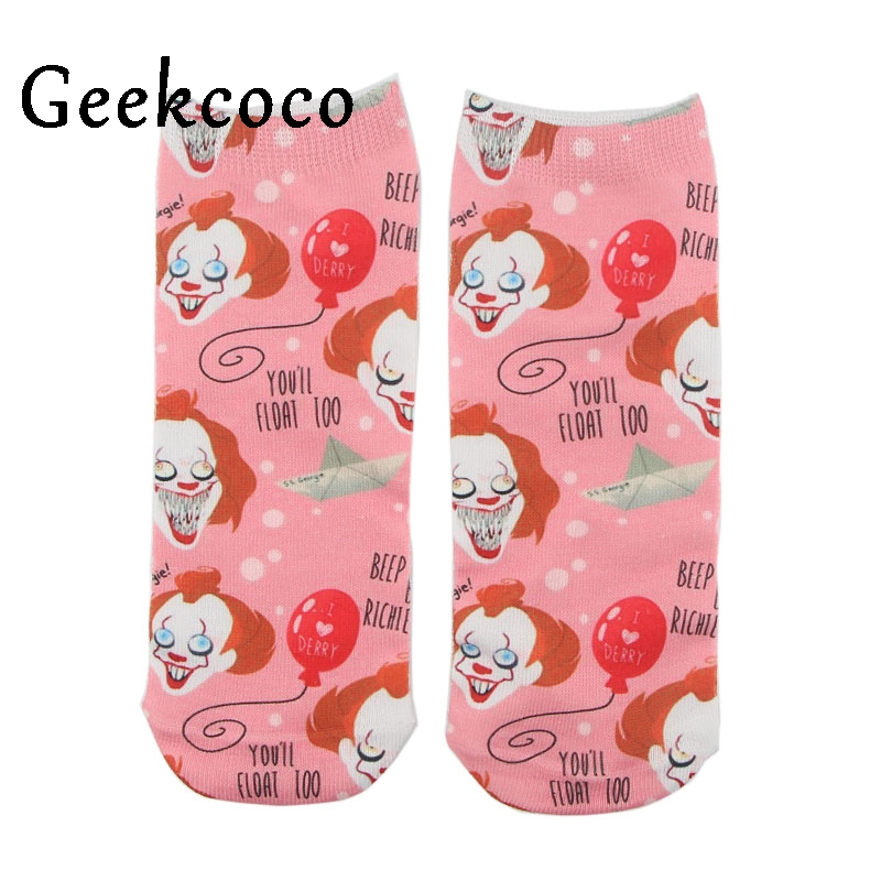 Stephen King's It Cute Cartoon Punk 3D Printed Short Tube Cotton Socks For Adult Sports Stocking One Side Printing Gifts J0507