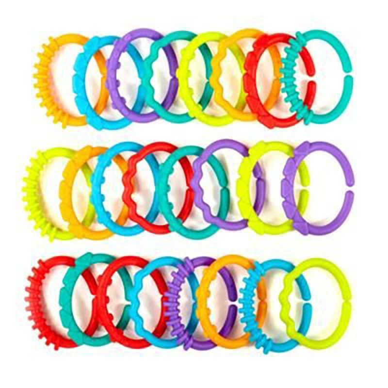 24 unids/set bonitos anillos de arcoíris coloridos mordedor de juguete cuna cama cochecito colgante sonajeros juguete decoración regalo educativo muñeca