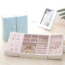 Storage Box High-end Double Open Jewelry Box Portable Earring Ring Jewelry Storage Box Square Delicate Jewelry Box storage 05 2 004 folding double open visual storage box for clothes grey