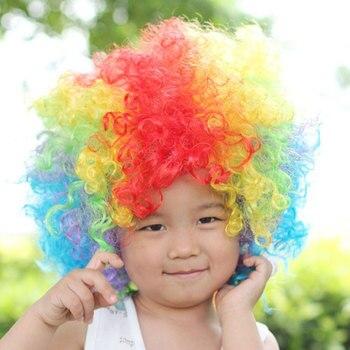 Umorden 할로윈 의상 코스프레 드레스 소품 어린이 어린이 서커스 광대 머리 조각 무성한 곱슬 머리 소년 소녀를위한 모자를 쓰고 있죠