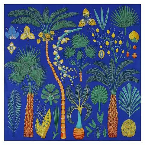 Luxury Brand 2020 New Design Palm Tree Spring Square Scarf 130cm Twill Silk Scarf Women Kerchief Scarves For Ladies Shawl Multan