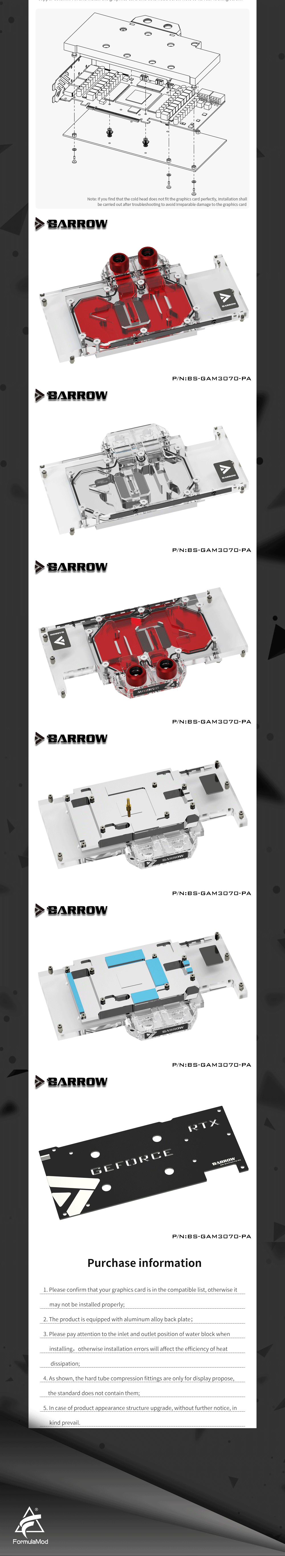 Barrow 3070 GPU Water Block for GALAX Geforce RTX 3070 MATELTOP, Full Cover ARGB GPU Cooler, BS-GAM3070-PA